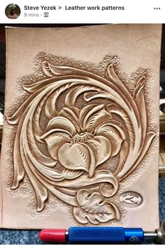 Leather work from master leathercrafter Steve Yezek Leather Stamps, Leather Art, Leather Design, Leather Tooling, Leather Carving, Leather Engraving, Diy Leather Holster, Leather Working Patterns, Stamp Carving