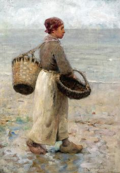 Robert McGregor (Scottish painter) 1848 - 1922 Collecting Cockles, s.d. signed l.r.: R. McGregor oil on canvas 36 x 25.5 cm.