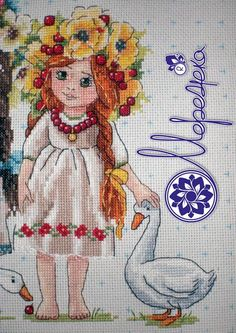 ginger girl, cross stitch, haft, goose, bead, merejka