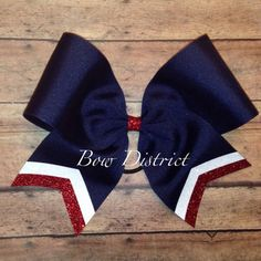 "3"" Navy Blue Team Cheer Softball Volleyball Bow with White and Red Glitter Tail Stripes"