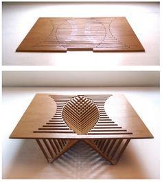 BOTANICAL BRICKS: FOLDING table. Articulaciones y superficies regladas. My kinda thing!