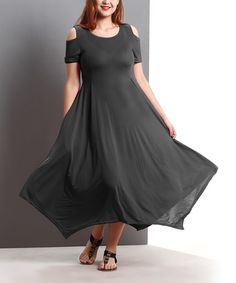 35 Loving this Charcoal Cutout Shoulder Handkerchief Maxi Dress- Plus on #zulily! #zulilyfinds