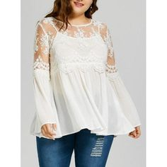 RoseWholesale - Rosewholesale Plus Size Lace Panel Wrinkle Smock Blouse - AdoreWe.com