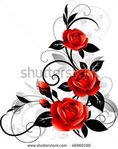 Find Vector Floral Design Ornament Roses stock images in HD and millions of other royalty-free stock photos, illustrations and vectors in the Shutterstock collection. Thousands of new, high-quality pictures added every day. Rose Vine Tattoos, Flower Tattoos, Bild Tattoos, Body Art Tattoos, Motifs Roses, Rose Vines, Pattern Images, Textured Background, Flower Art