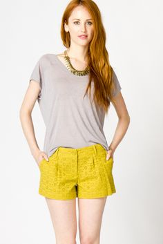 Eyelet Shorts in Citrine