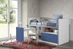 Dewitt European Single Mid Sleeper Bed with Bookcase and Desk Isabelle & Max Bed frame colour: White/Silver Bed Frame With Drawers, Bunk Beds With Drawers, Bunk Beds With Stairs, High Sleeper Bed, Triple Sleeper Bunk Bed, Cabin Bunk Beds, Loft Beds, Convertible Toddler Bed, Single Bunk Bed