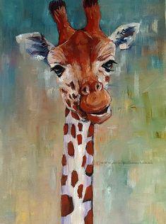 Original Acrylic Painting Animal Art  Giraffe Portrait Wall decor