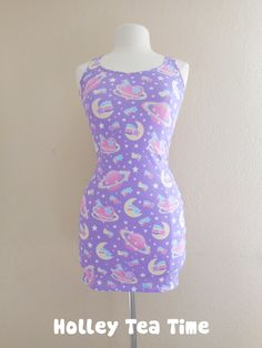 ☆ This item is a made to order dress. The dress will be manufactured printed, cut and sewn in the factory and then will be delivered to you. Time to manufacture the dress is 4-5 weeks before shipping out.  ☆ A cute dress that can be dresses up or worn as casual wear. Perfect for fairy kei, pop ...  <3
