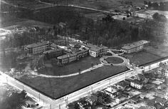 Durham's first hospital, Watts Hospital, in 1927. The campus is now home to the N.C. School of Science and Mathematics.  #Durham #NC