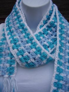 Long Scarf Blue and White 100% Easy Care Acrylic Fashion | Etsy Skinny Scarves, Teal, Turquoise, Long Scarf, Hand Crochet, Shades Of Blue, Crochet Necklace, Fashion Accessories, My Etsy Shop