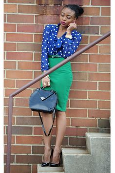 Must have this Kelly green pencil skirt. It's my favorite color. I love the blouse too, but I'd probably pair it with a basic black skirt or trousers.