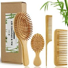 Amazon.com : MRD Bamboo Hair Brush and Comb Set with Paddle Detangling Brushes Natural Hairbrush ECO-Friendly No Bristle, suit for Women Men and Kids Thick/Thin/Curly/Dry Hair Gift kit(4 pcs) : Beauty Best Hair Brush, Hair Brush Set, Tooth And Tail, Bamboo Hair Products, Dry Curly Hair, Teased Hair, Detangling Brush, Beautiful Hair Color, Thick And Thin