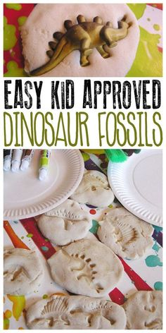 Make these dinosaur fossils with kids out of 3 kitchen ingredients and then paint them to make them more realistic or leave them natural. #EverydayArtsandCrafts