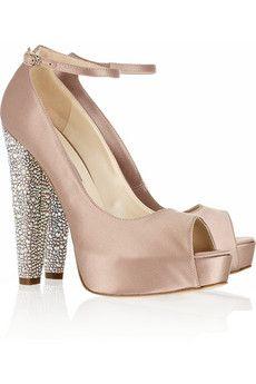 Brian Atwood Martina Swarovski crystal-embellished satin peep-toe pump FashionHippo.com #shoes