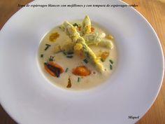 Les receptes del Miquel: Sopa de espárragos blancos con mejillones, con tempura de espárragos verdes, Reto gastroamig@s