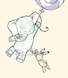 Nursery Art -- Come Fly With Us lavender balloon 5x7 -- Art Print