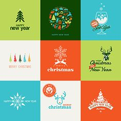 Flat Design Christmas and New Year Greeting Cards on Behance