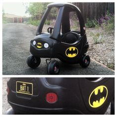 Little Tikes Cozy Coupe BATMOBILE 2 Cans DupliColor plastic dye (available at Orielly or Autozone) Custom decals made by They're Crafty (https://www.facebook.com/pages/Theyre-Crafty/200975410080925)
