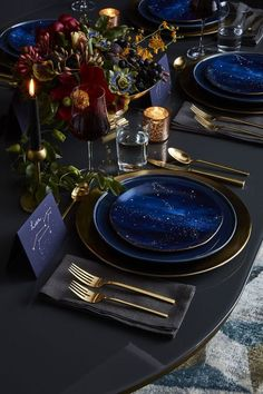 Good table design, since I have these West Elm plates West Elm, Starry Night Wedding, Starry Nights, Celestial Wedding, Deco Table, Decoration Table, Dinner Table Decorations, Reception Decorations, Blue Wedding Decorations