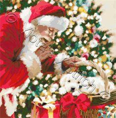 Santa and puppies Christmas cross stitch kit | Yiotas XStitch
