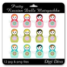 Pretty Russian Dolls Illustration Clipart Digi by DigiDivaGraphics, $4.00  https://www.etsy.com/listing/66221211/pretty-russian-dolls-illustration?ref=sr_gallery_5&ga_search_query=Black+digital+flowers&ga_page=95&ga_search_type=all&ga_view_type=gallery