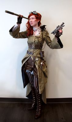 Stupendously awesome steampunk costume.