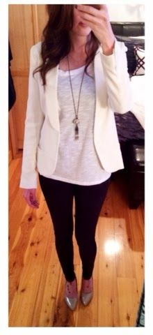 Fall work outfit - winter white blazer with black leggings and nude heels