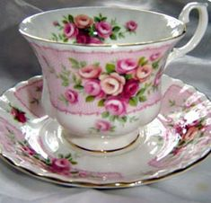 Royal Albert - Dove  EST 1960s  Description: Pink band with Pink and Red Rose Bouquets and Gold Trim  Cup Shape: Montrose or Malvern  Series of Six, Conway, Dove, Evevsham, Manifold, Trent, and Wye