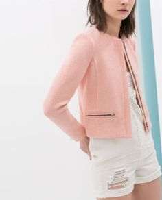 Image 6 of FABRIC JACKET WITH ZIP from Zara 66% COTTON, 20% ACRYLIC,