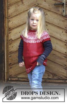 Lotta / DROPS Children 30-8 - Tunika med rundfelling og flerfarget norsk mønster, strikket ovenfra og ned til barn. Størrelse 2 - 12 år. Arbeidet er strikket i DROPS BabyMerino.