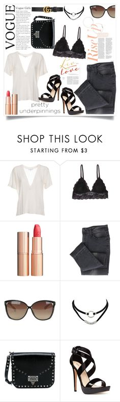 """""""Pretty Underpinnings"""" by joiceleo ❤ liked on Polyvore featuring IRO, Humble Chic, Charlotte Tilbury, Linda Farrow, Valentino, Nine West and Gucci"""