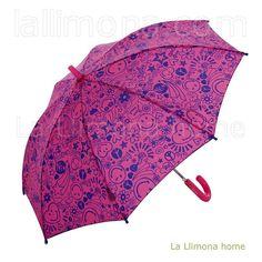 Paraguas Smiley infantil en color rosa, largo y antiviento.  http://www.lallimona.com/online/paraguas-originales/