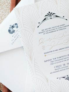 Matte Metallic Vintage-Inspired Champagne Foil #Wedding Invitations: http://ohsobeautifulpaper.com/2014/10/julissa-christophers-vintage-inspired-champagne-foil-wedding-invitations/ | Design + Photo: Umama | Letterpress + Foil Printing: Boxcar Press