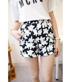 #Black #ForalPrint #Cotton #Shorts £9.99 @ ShanghaiTrends.co.uk  /  http://shanghaitrends.co.uk/black-foral-print-cotton-shorts