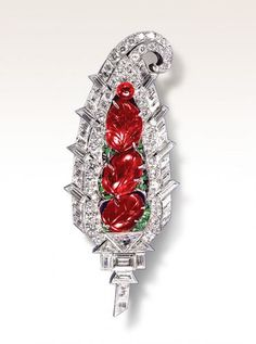 Art Deco Diamond and Ruby Sarpeh Brooch by Mauboussin, C 1925