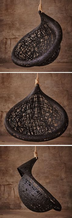 This unique hanging chair design is made from black volcanic basalt fibre   CONTEMPORIST