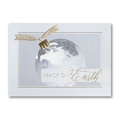 Send a tranquil message of Peace On Earth to everyone on your mailing list with this decorative greeting card. Made from recycled paper by manufacturers using renewable energy sources. Business Christmas Cards, Holiday Cards, Price Of Stamps, Personalised Christmas Cards, Renewable Sources Of Energy, Types Of Printing, Peace On Earth, Thanksgiving Cards, Foil Stamping