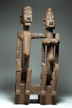 """""""Dogon Primordial Couple,"""" c. 19th-20th century. Wood, 29"""" high. Africa."""