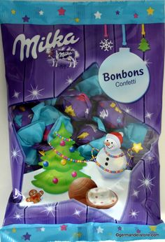 """For the little connoisseurs of the Milka alpine milk chocolate, there is the new """"Milka Chocolate Candies Confetti - Bonbons Confetti"""" made of delicate Milka alpine milk chocolate with a filling of milk cream and colorful sugar..."""