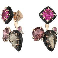 Alexis Bittar Custom Gemstone Stud w/ Removable Ear Jacket Earrings... ($207) ❤ liked on Polyvore featuring jewelry, earrings, multi, gold enamel earrings, enamel jewelry, gemstone earrings, yellow gold earrings and post earrings
