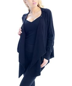 6dc3a9ea8a Black Epaulet Long-Sleeve Sidetail Open Cardigan  zulily  zulilyfinds Open  Cardigan