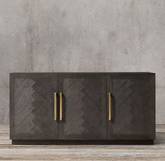 Herringbone Triple-Door Sideboard Overall: x x Left/Right Interior (Without Shelf): x x Center Interior (Without Shelf): x x Weight: 209 lbs. Side Board, Herringbone Wood Floor, Rh Rugs, Furniture Vanity, Cabinet Furniture, Sideboard Buffet, Credenza, Metal Sideboard, Bath Storage