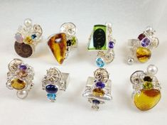 Gregory Pyra Piro Contemporary Rings with Gemstones Green Tourmaline, Jewelry Art, Jewelry Design, Designer Jewelry, Jewelry Shop, Handmade Rings, Handmade Jewelry, Locs