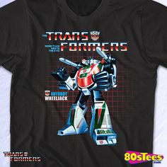 Wheeljack Box Art Transformers T-Shirt made by 80sTees.com in collections, 80s Cartoons: Transformers, & Department: Mens, & Color: Black
