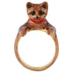 Les Nereides Les Nereides Loves Animals Kitten Ring ($59) ❤ liked on Polyvore featuring jewelry, rings, red, red jewelry, chain ring, chains jewelry, les nereides jewellery and 14k ring
