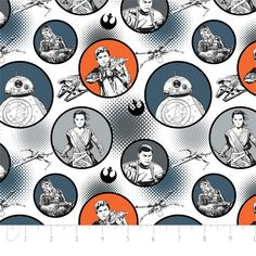 Fabric... Star Wars The Force Awakens Badges on White for Camelot Fabrics