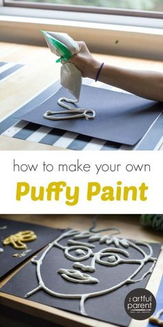 via Artful Parent How to make DIY puffy paint for kids with a simple recipe, a step-by-step tutorial, and photos. Homemade puffy paint is easy to make and lots of fun! Projects For Kids, Diy For Kids, Kids Crafts, Arts And Crafts For Kids Easy, Decor Crafts, Art Activities For Kids, Preschool Art, Activities For 4 Year Olds, Therapy Activities