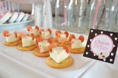 Mice cheese & cracker bites from a Kitty Cat Birthday Party on Kara's Party Ideas | KarasPartyIdeas.com (24)