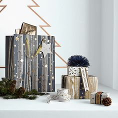 Buy John Lewis Helsinki Woodgrain Gift Wrap, 3m, Gold Online at johnlewis.com