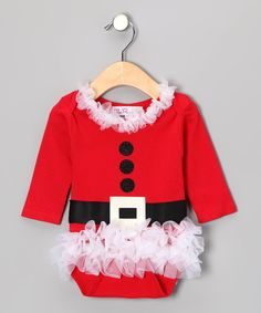 Take a look at this Red Mrs. Claus Chiffon Ruffle Bodysuit - Infant on zulily today!
